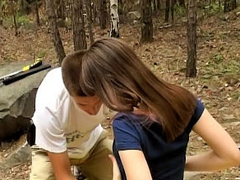 Gorgeous teenie getting screwed hard by fortunate man outdoors