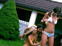 Three nice perfect lesbo teenies toying themselves outdoor