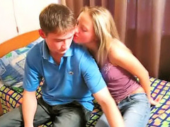 Amazing blonde teenie suckes and gets fucked by dirty cadger
