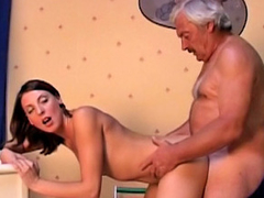 Old dirty guy screwing amateur hot brunette ungentlemanly at room
