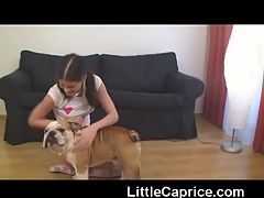 Sweet Caprice with her Bulldog