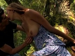 Wild fuck outdoors on the log hither a wicked and immodest blond