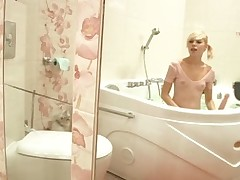 Nasty legal age teenager Alice in a tub with a toy