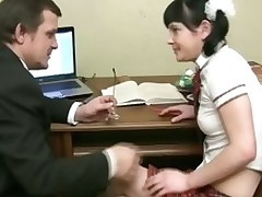 Sweet darling opens her twat for teacher's fixed drilling