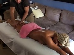 Sexy darling rides on stud's jock wildly after oil massage